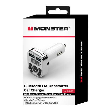 Monster White Bluetooth FM Transmitter Car Charger