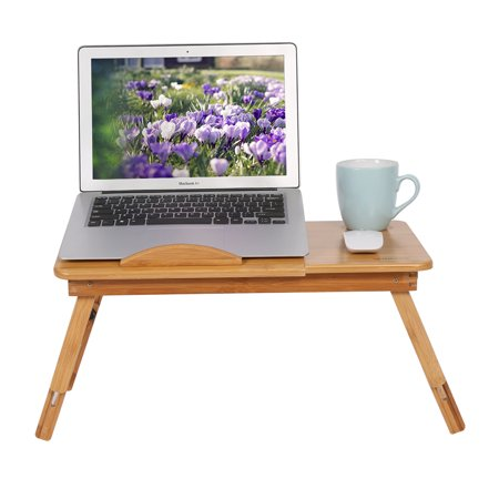 WALFRONT Adjustable Laptop Table Poratble Foldable Bamboo Computer Notebook Desk Tilting Top W/ Drawer Bed Tray Stand with Flower Holes & Small Drawer