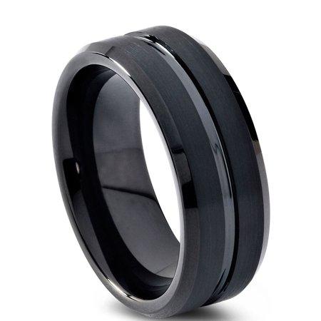 Tungsten Wedding Band Ring 6mm for Men Women Comfort Fit Black Beveled Edge Polished Brushed Lifetime Guarantee - image 1 de 5