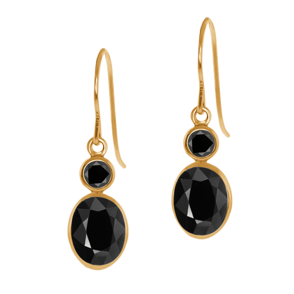 2.38 Ct Oval Black Sapphire Black Diamond 14K Yellow Gold Earrings