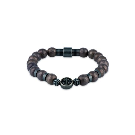 Oxidized Brown Hematite Beads 316L Stainless Steel Stretch Anchor Bracelet, 8