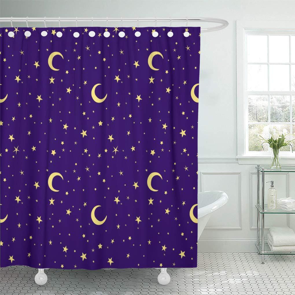 Cynlon Purple Night Golden Yellow Moon And Stars Sky On