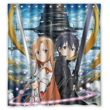 Ganma Japanese Anime Cartoon Sword Art Online Sao Kirito And Asuna Design Shower Curtain Polyester Fabric Bathroom Shower Curtain 66x72 inches - Sai Swords