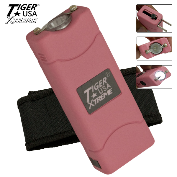 25 Million Volt Rechargeable Pink Stunner with LED Flashlight Holster