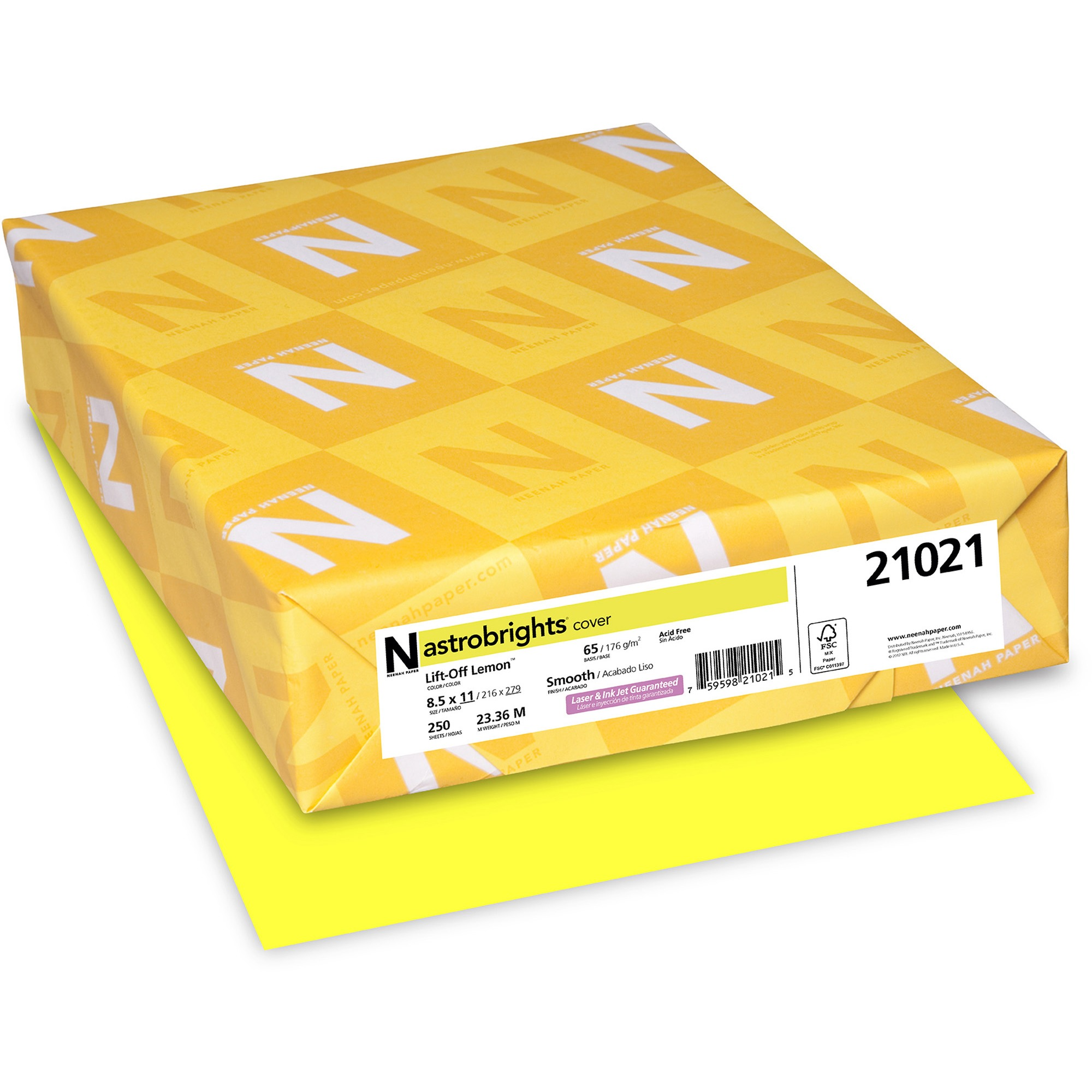 "Astrobrights Colored Cardstock, Lift-Off Lemon Yellow, 8.5"" X 11"", 250 Count"