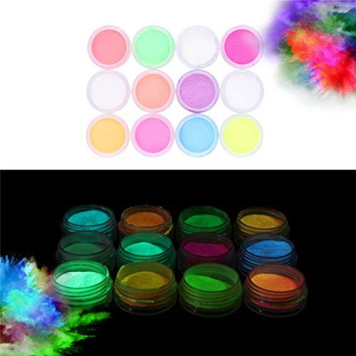 Glow in the Dark Powder –(Pack of 24) Luminous Pigment Powder Fluorescent UV Neon Color Changing luminescent Phosphorescent Thermochromic Dye Dust Glo for Slime Nails Resin Acrylic Paint - Neon Face Paint Patterns