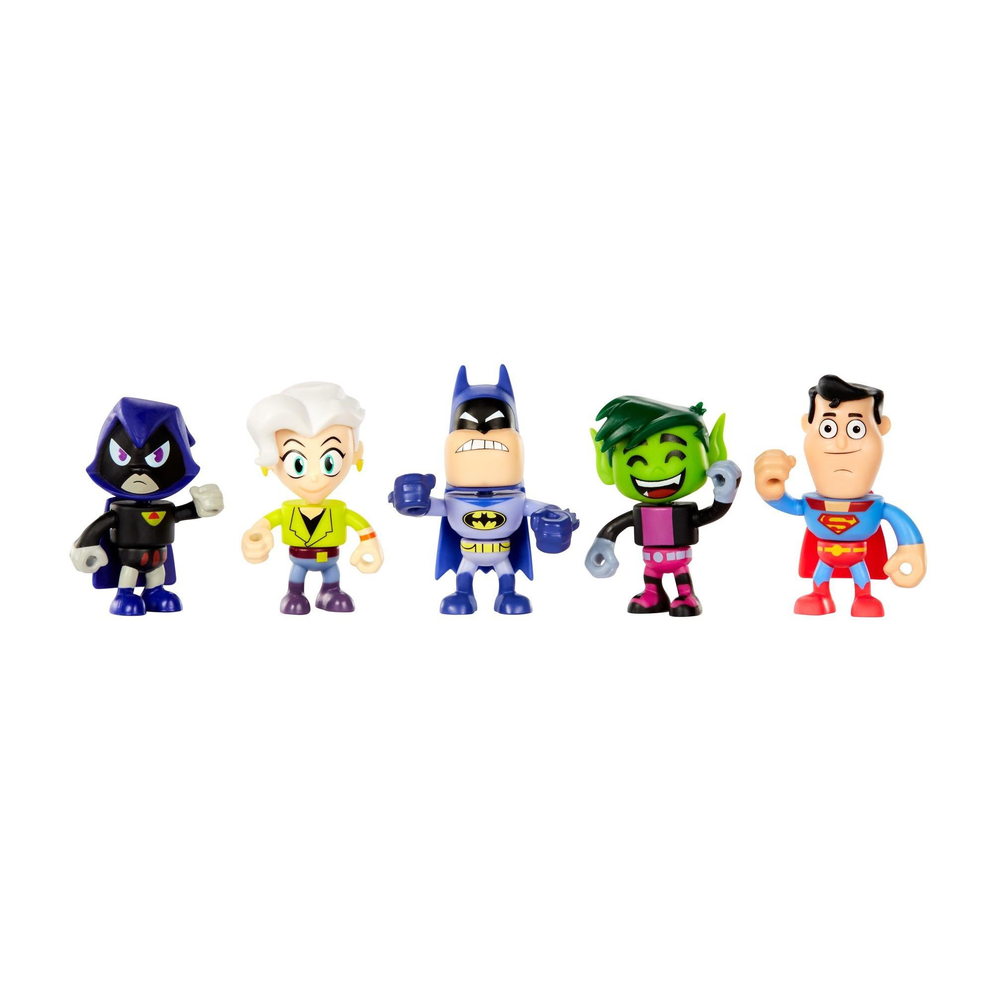 Click here to buy Teen Titans Go! to the Movies Mini Figures Batman, Jade Wilson, Beast Boy, Supermand, Raven 5-Pack by Mattel.