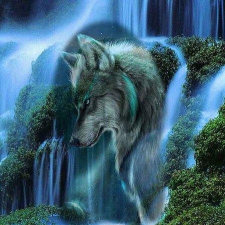 Round Rhinestone Drawings Embroidery DIY Diamond Painting Stitchwork Wolf Cross-stitch Pictures Home
