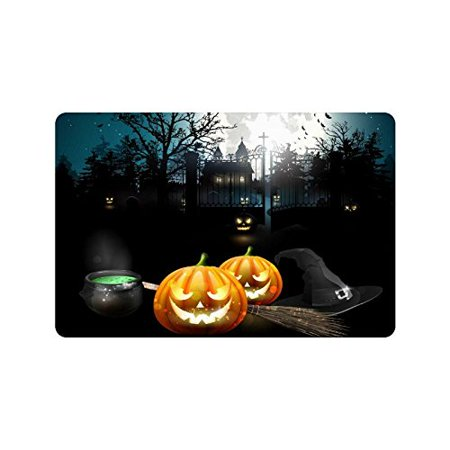 CADecor Halloween Evil Pumpkin Door Mat Home Decor, Starry Night Indoor Outdoor Entrance Doormat 23.6x15.7 - Halloween Entrance
