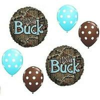 It's a Buck Blue Boy Baby Shower Camo Mossy Oak 6 PIece Mylar & Latex Balloons