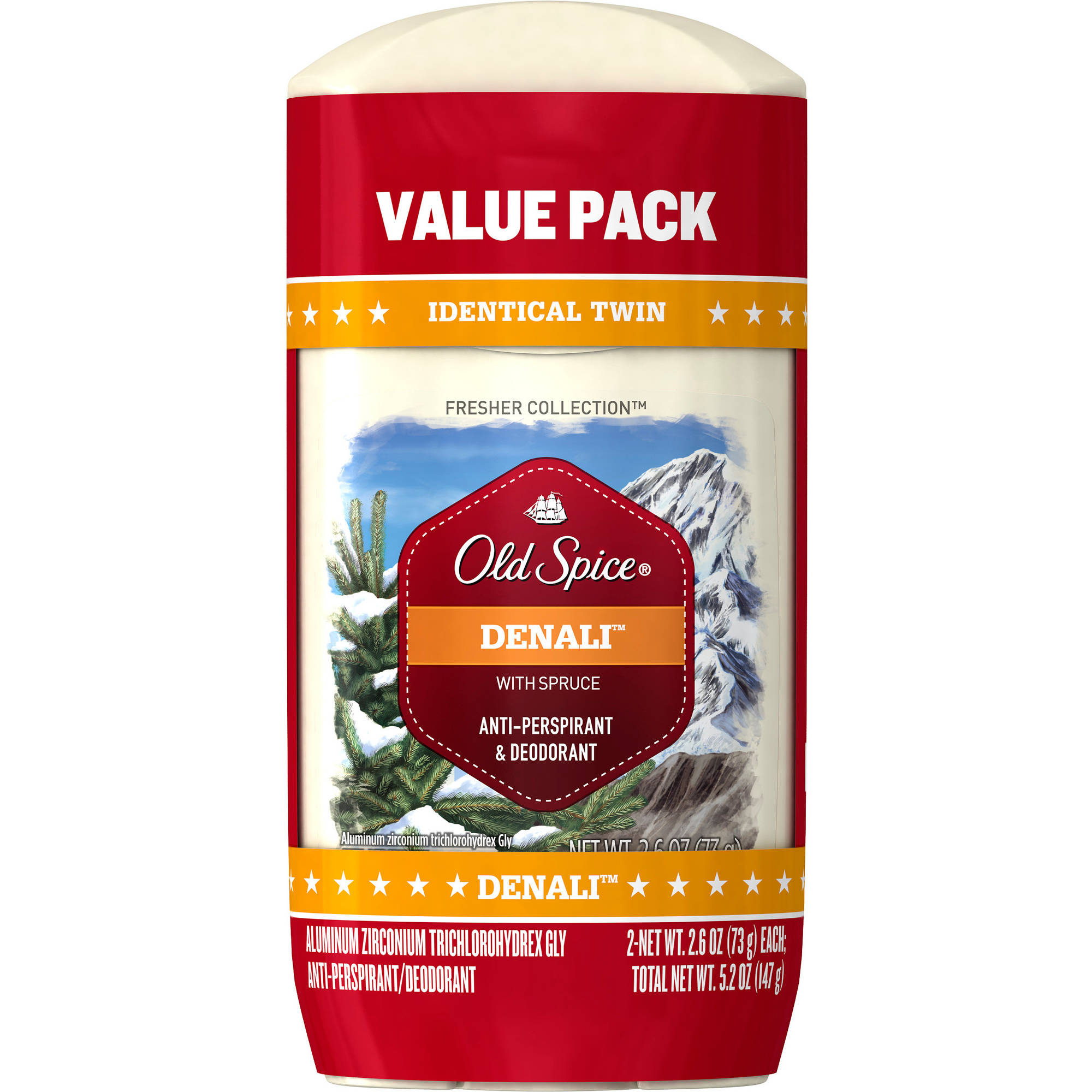 Old Spice Fresh Collection Denali Scent Anti-Perspirant/Deodorant, 2.6 oz, 2 count