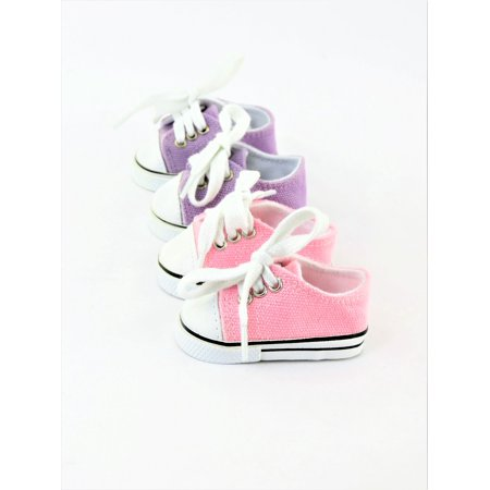 Vinyl Doll Shoes (2 Pair Low Top Sneakers Lavender & Light pink  - Fits 18
