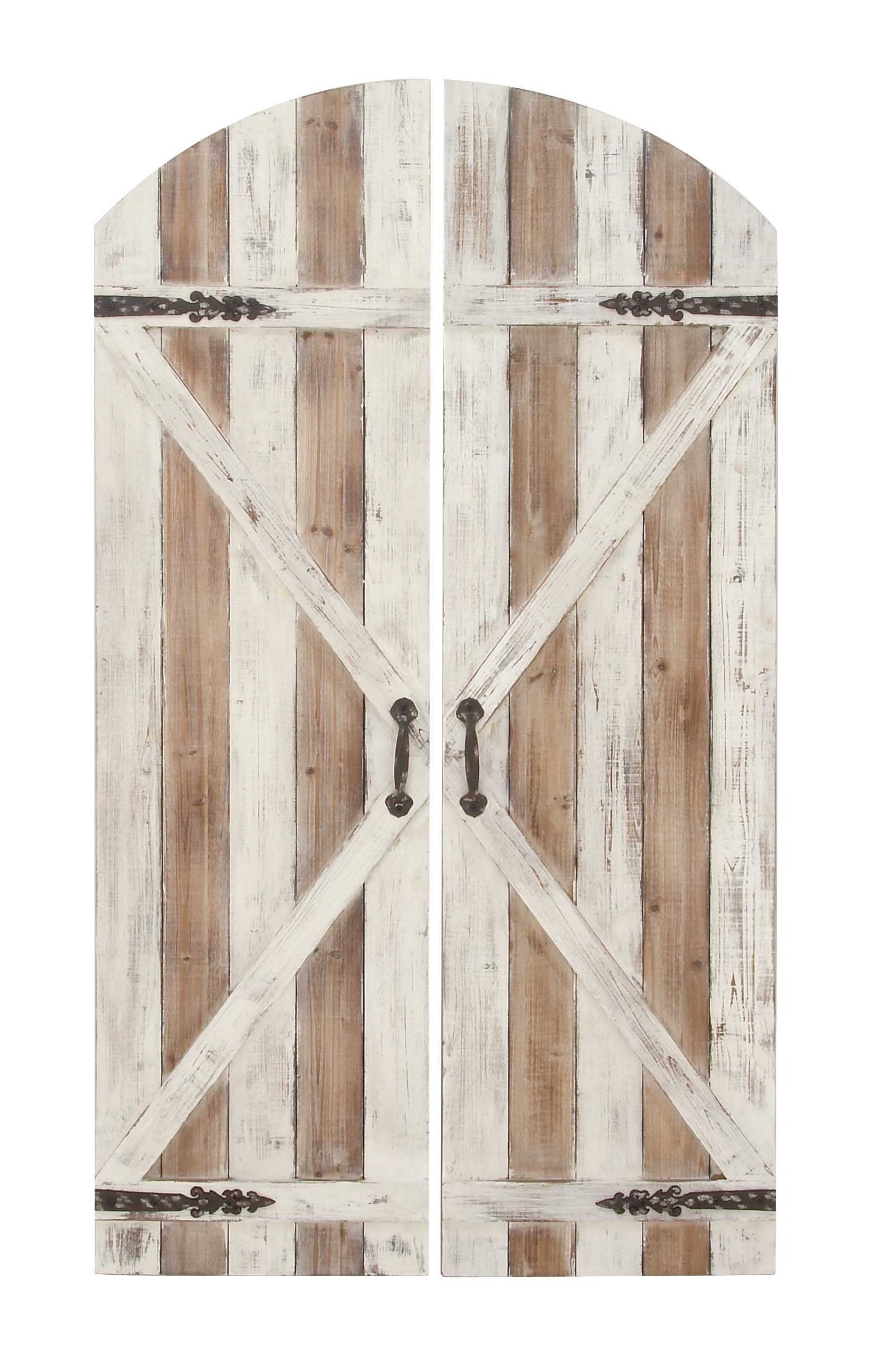 Decmode Set of 2 Farmhouse 59 X 34 Inch Slatted Fir Wood and Iron Arched Top Barn Door Wall Plaque, Brown by DecMode