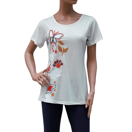 Embroidered Embroidery Floral Butterfly Stretch T-Shirt Top Tee Blouse  M - Xxl -