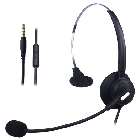 wantek wired mobile phone headset with flexible noise canceling mic +  adjustable headband for iphone samsung