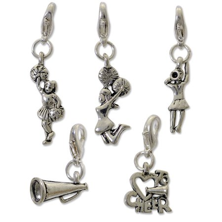 Cheerleader Charm for Jewelry Making Set (Package of 5) with Clasp Silver Plated - Clasps For Jewelry Making