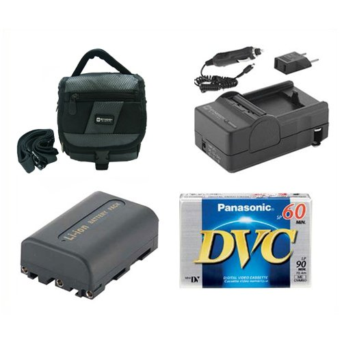 Sony DCR-PC330 Camcorder Accessory Kit includes: SDC-27 Case, SDM-101 Charger, DVTAPE Tape/ Media, SDNPFM50 Battery