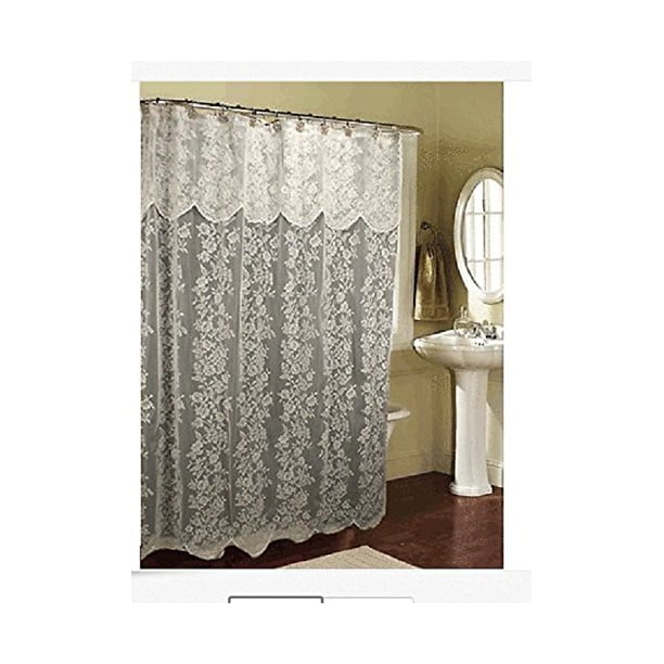 Romance Lace beige Fabric Shower Curtain With An Attached Valance
