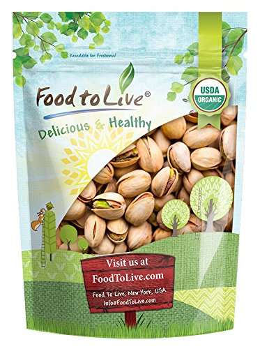 Food to Live Organic California Pistachios (In Shell, Roasted and Salted, Non-GMO, Bulk) (2 Pounds)