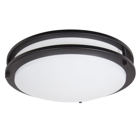 14 Inch White Ceiling Light - Maxxima 14 in. Black LED Ceiling Mount Fixture - Warm White, 1650 Lumens