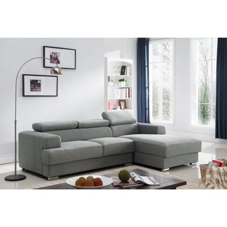 Gabriel Contemporary Fabric Upholstered 2-Pc Right Facing Sectional Sofa,  Grey