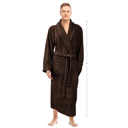 Napa Men's Super Soft Warm Microfiber Fleece Plush Bathrobe Lightweight Spa Shawl Robe Sleepwear Brown