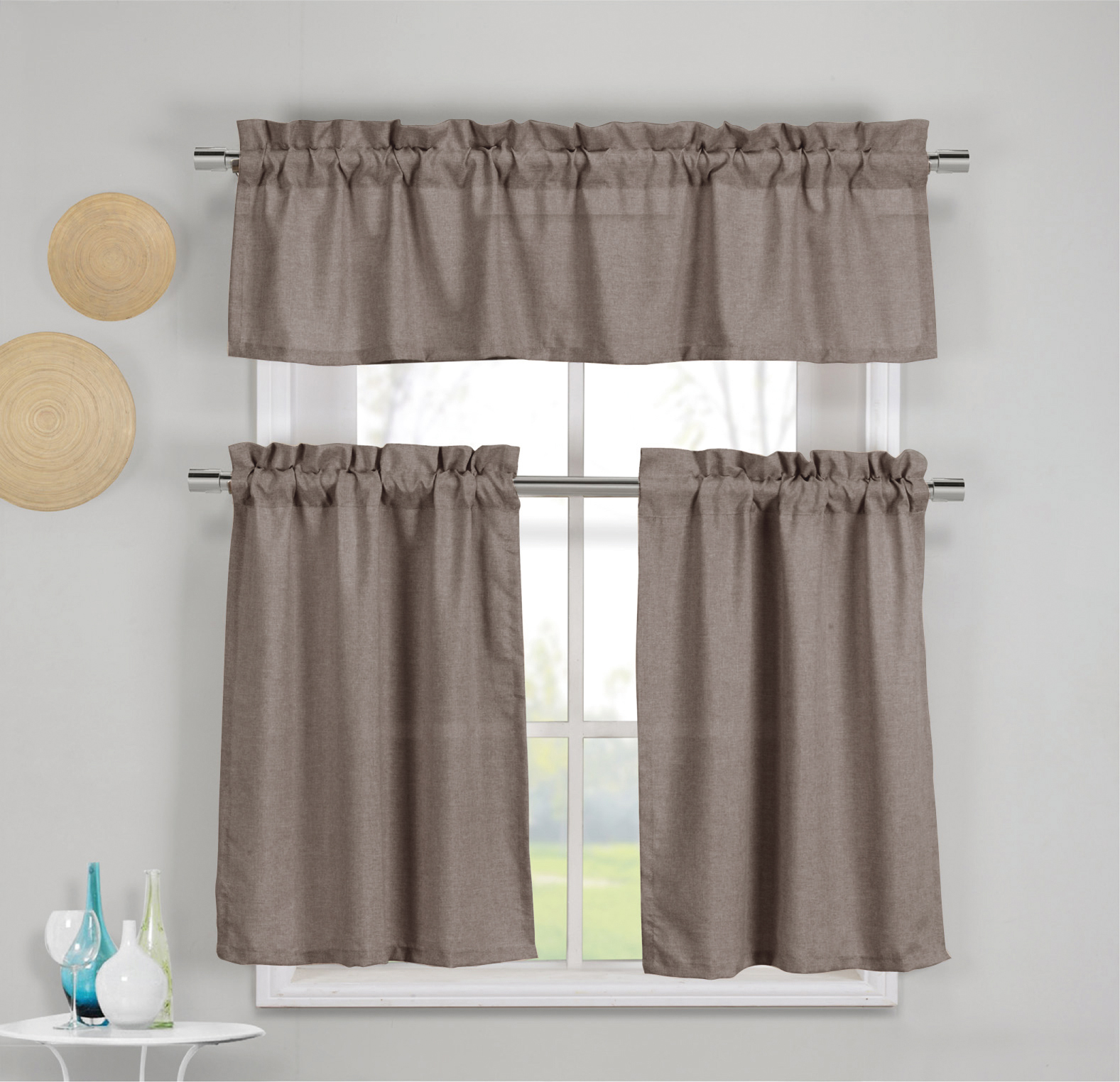 3 Piece Faux Cotton Espresso Brown Kitchen Window Curtain Panel Set with 1 Valance and 2 Tier Panel Curtains