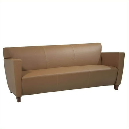 Office Star Bonded Leather Sofa with Cherry, Shipped Assembled with Legs Unmounted, Multiple Colors