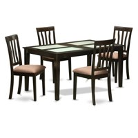 East West Furniture Capri 5 Piece Splat Back Glass Top Dining Table Set