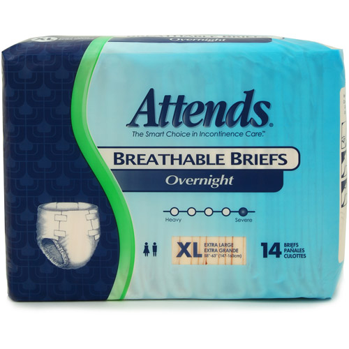 Attends Overnight Breathable Briefs, 14 count