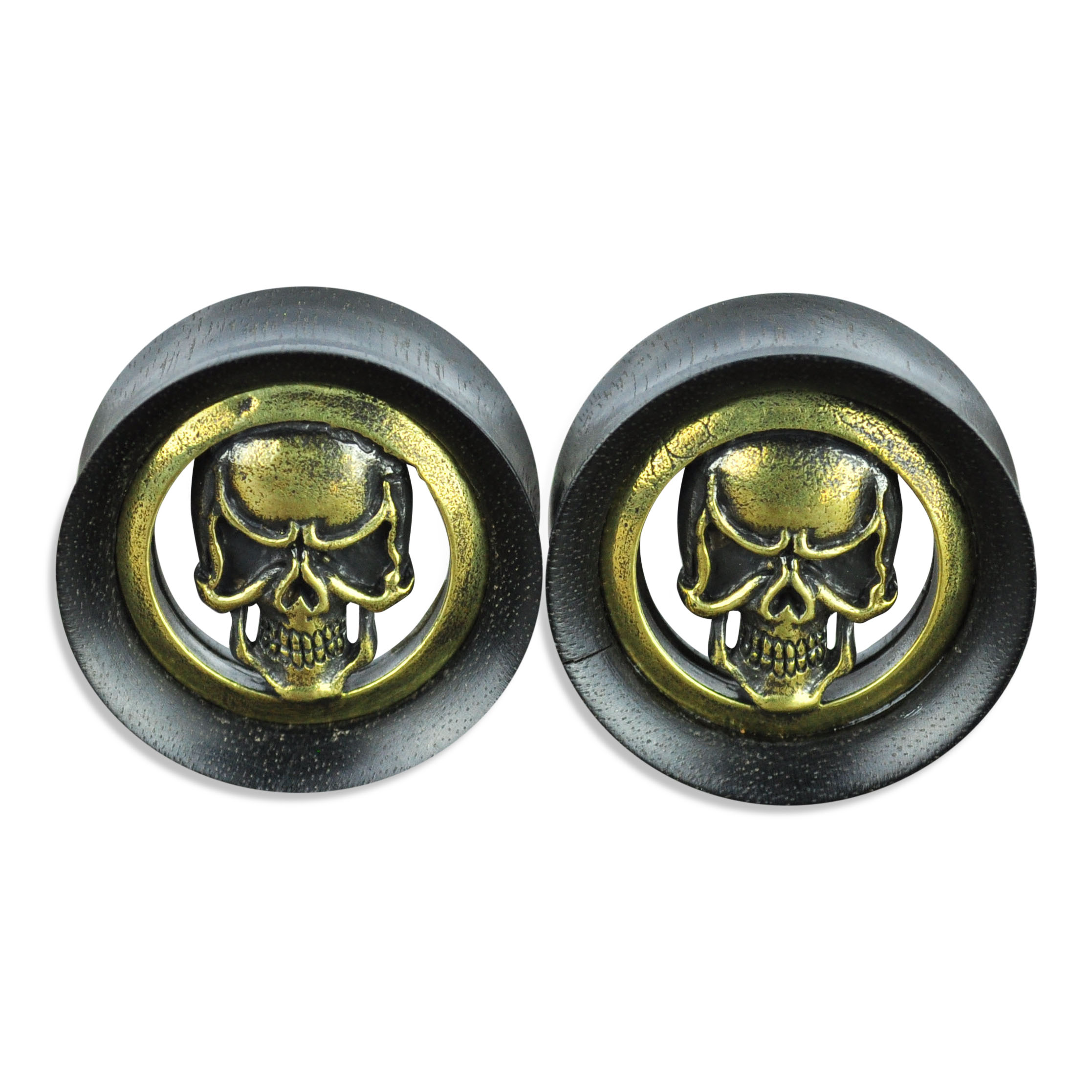 Black Areng Wood Tunnels with Brass Skull Inlay Ear Gauges