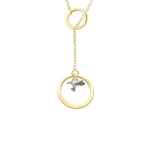Mini Hummingbird Gold Tone Double Karma Lariat Necklace