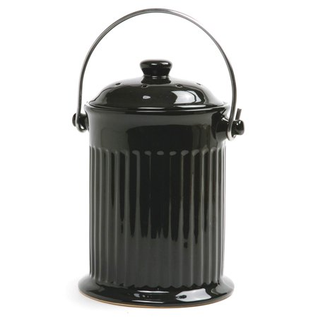 Norpro 93EB 1 Gallon Ceramic Counter Top Compost Crock w/ Steel Handle, Black ()