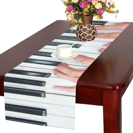 MYPOP Hands Playing the Piano with Music Notes Cotton Linen Table Runner 16x72 inches - Piano Runner