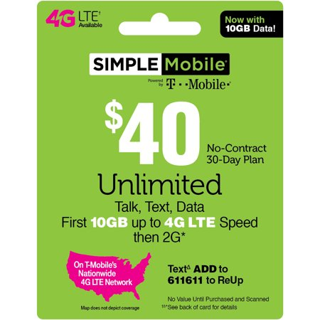 Simple Mobile $40 Unlimited Talk, Text & Data (First 10GB up to 4G LTE† Speed then 2G*) 30-Day Plan (Email
