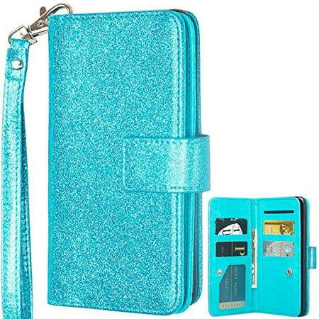 ZTE ZMAX Pro Case, ZTE Blade X Max Case, ZTE Grand X Max 2 Case, [Wrist Strap] Glitter Faux Leather Flip Credit Card Holder [Kickstand] Protective Wallet Case Clutch Case - Teal ()