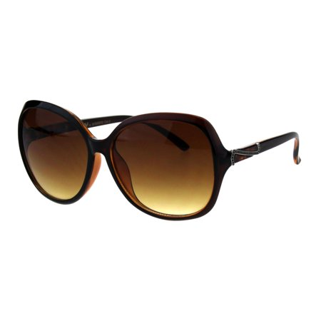 Womens Designer Style Fashion Oversize Butterfly Plastic Sunglasses Brown Gradient