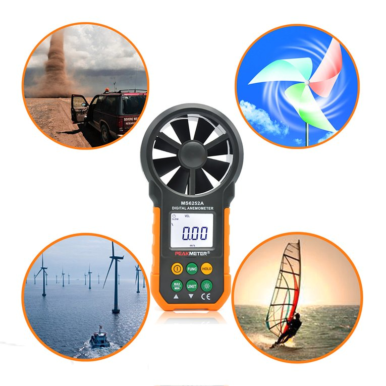 LCD Digital Anemometer Wind Speed Meter Air Flow Tester B...