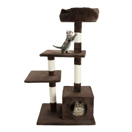 PetMaker 4 Tier Cat Tree- Plush Multi-Level Cat Tree with Sisal Scratching Posts, Perch Platforms, and Penthouse Condo