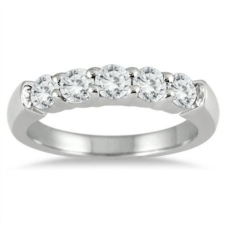 3/4 Carat TW Five Stone Diamond Wedding Band in 14K White