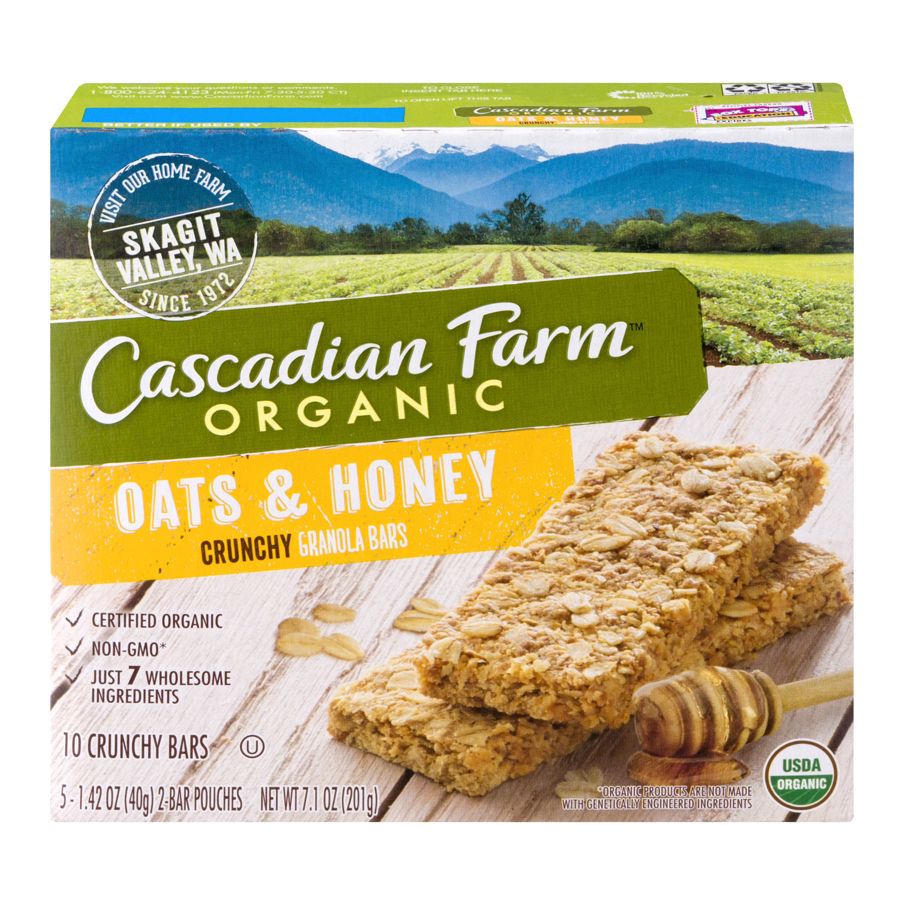 Cascadian Farm® Organic Crunchy Granola Bar non-GMO Oats and Honey 10 Bars In 5 - 1.42 oz 2-Bar Pouches
