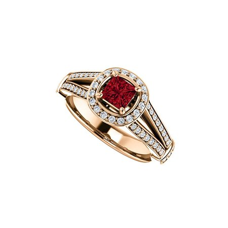 Faceted Cut Ruby and CZ Split Shank Halo Ring Vermeil Faceted Rough Cut Ruby