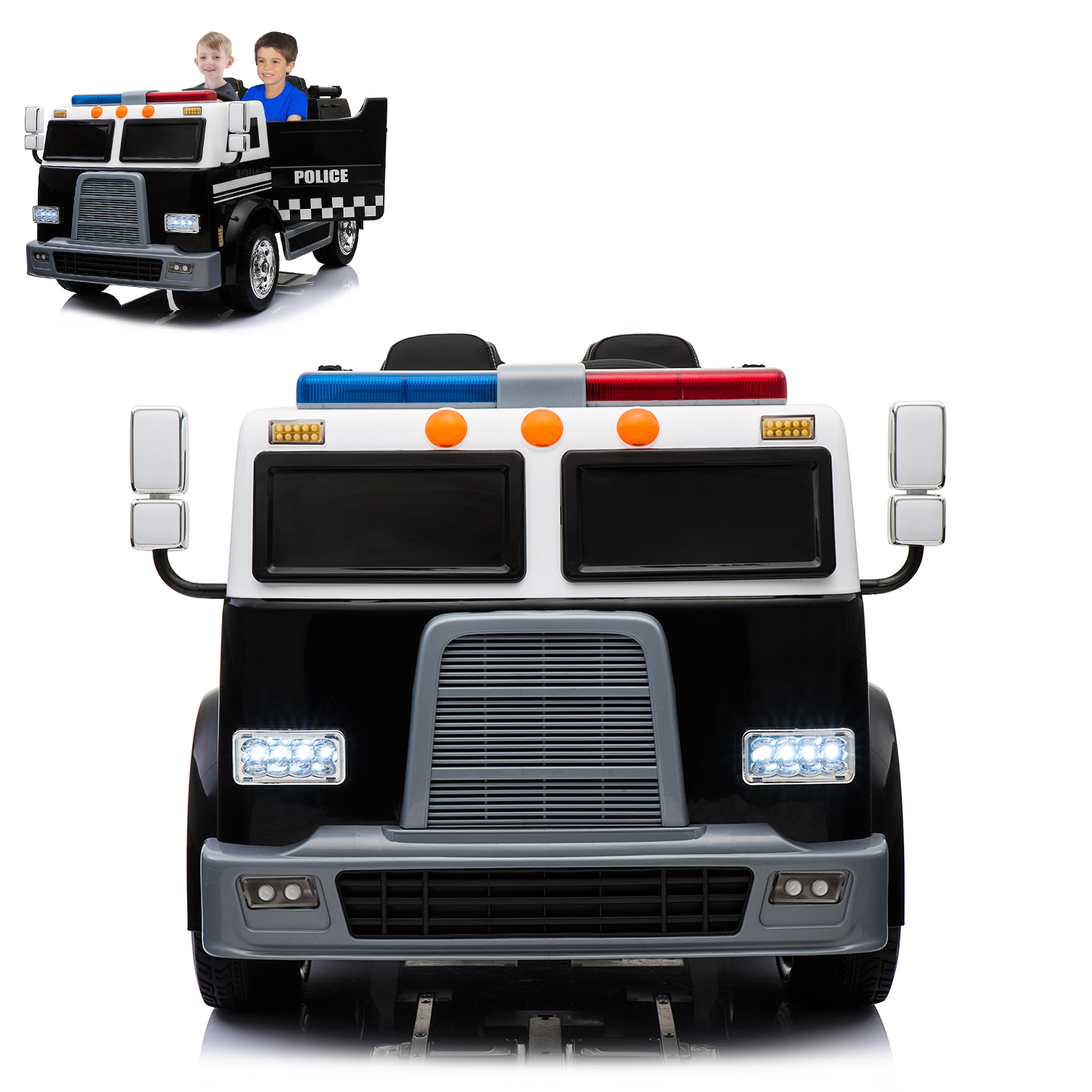 Police Truck Electric Ride On Car 2 Seats With Remote Control For Kids | 12V Power Battery Kid Car To Drive... by Modern-depo