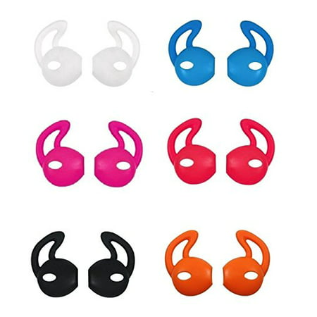 EarPod Cover and Hook Attachment for iPhone 7 / 6 / 6S / 6 Plus/ 5S/ 5C/ 5 Earphones Headphones Earbuds (7 Pair Black, White, Red, Orange, Clear, Blue, Hot Pink) (Blue Iphone 5 Earphones)