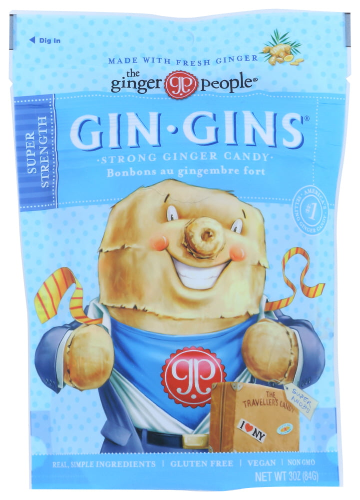 (12 Pack) Ginger People - Gin Gins Ginger Candy - The Traveler'S Candy, 3 oz