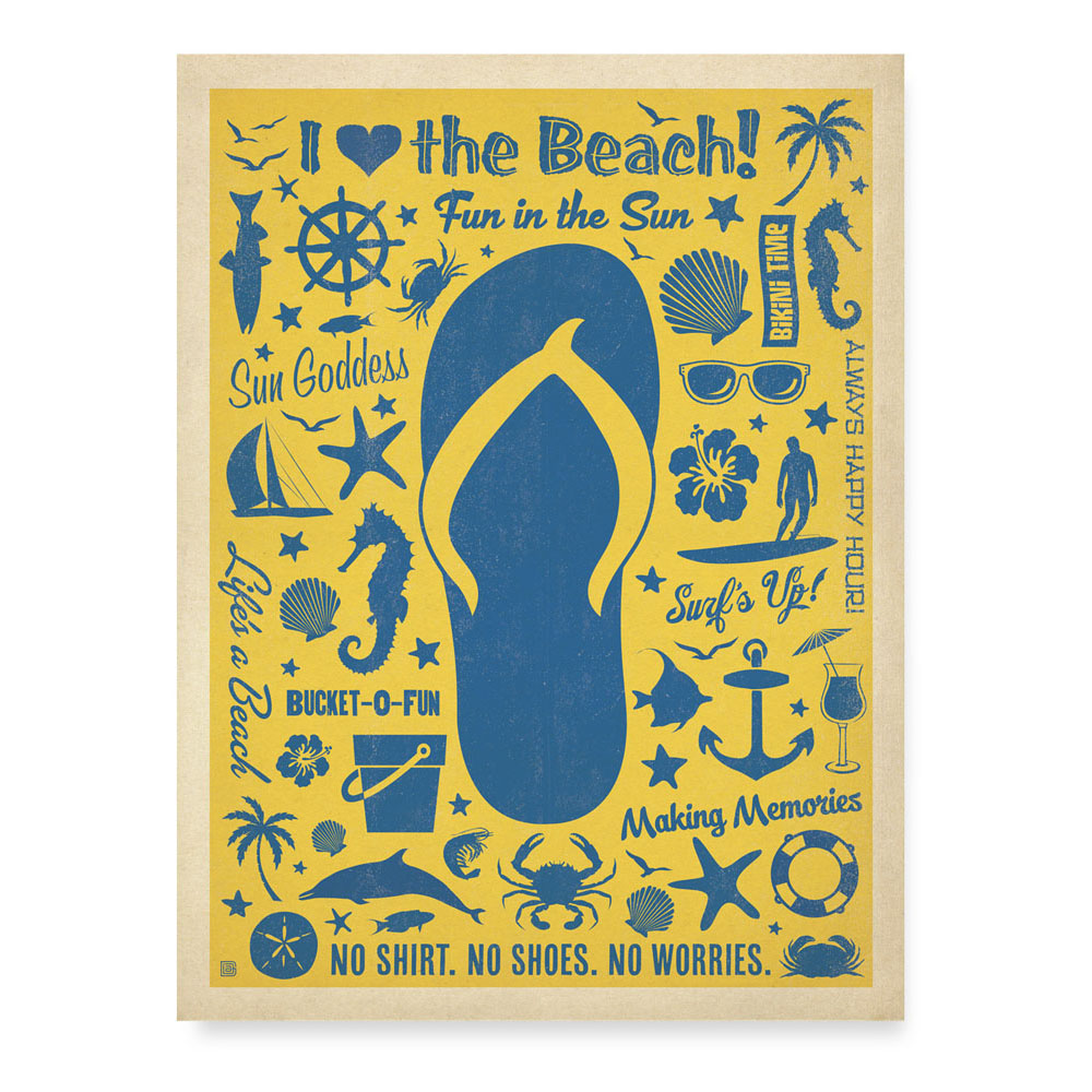 Flip Flop I Love The Beach Artisan Tapestry Wall Canvas