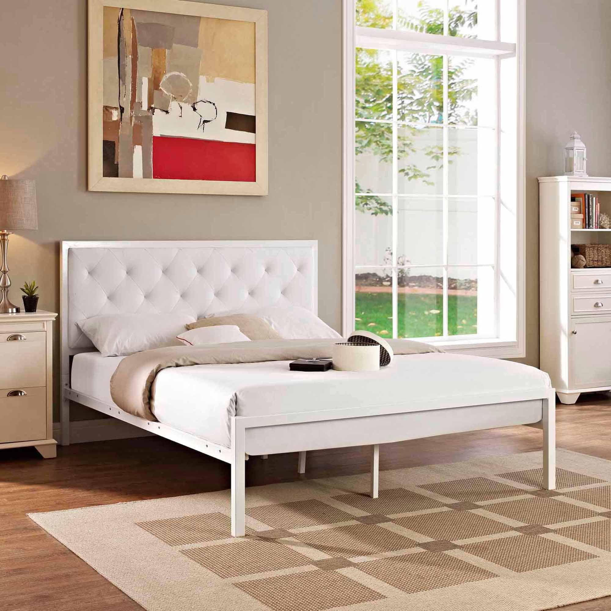 Platform bed frame white - Modway Mia Queen Leatherette Platform Bed Multiple Colors Walmart Com