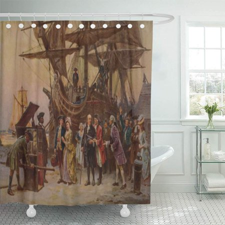 KSADK Benjamin Franklin and His Family are Greeted by Judge Thomas Mckean's on Their Shower Curtain 66x72