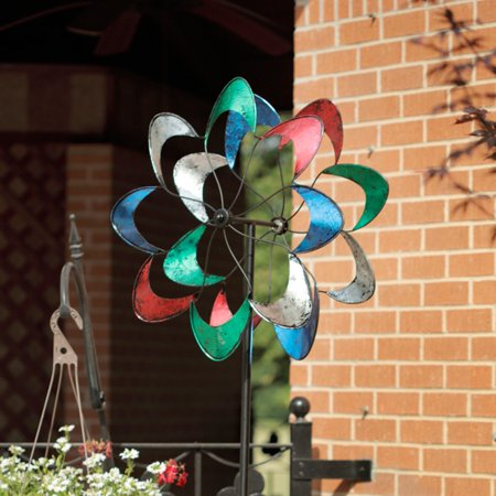 Image of American Furniture Classics Colorful Petals Wind Spinner, Yard Ornament