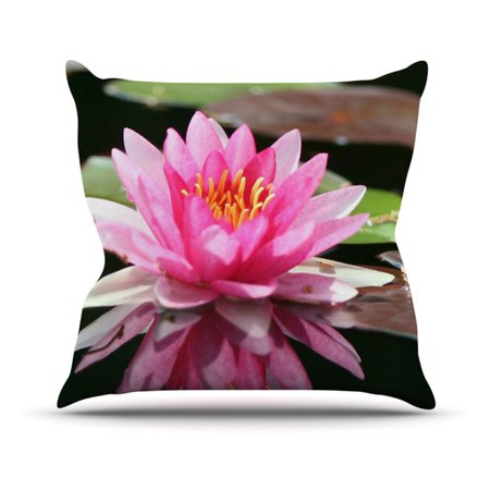 Kess Inhouse Angie Turner Water Lily Green Pink Indoor Outdoor Throw Pillow